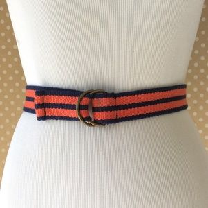 Fabric belt with bronze colored buckle